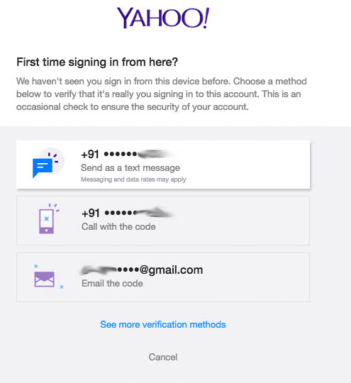 yahoo two step verification