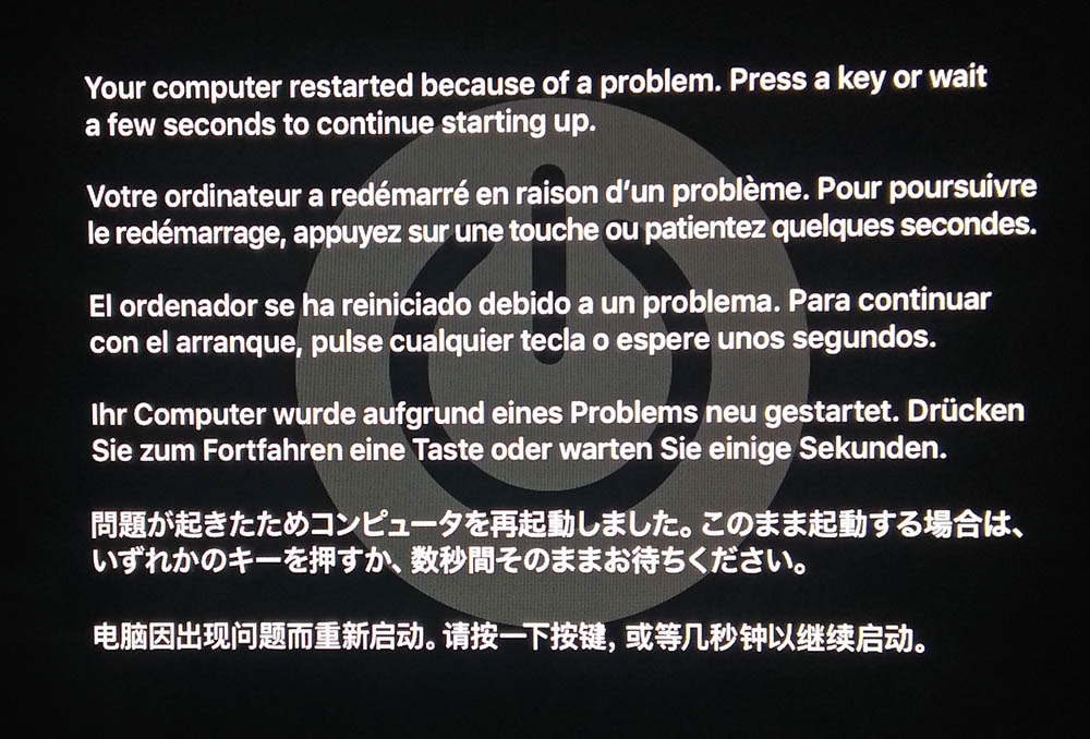 Your computer restarted because of a problem. Press a key or wait a few seconds to continue starting up.